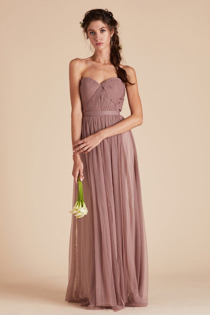 Birdy Grey Bridesmaid Dress Under  100 - Christina Convertible Dress -  Sandy Mauve - Lightweight Gown - Airy Tulle - 2 Extra Long Front Streamers  Attached ... 49cce5591492