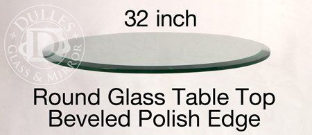 """This 32'' #Round Glass Table Top features 1/2"""" thick annealed glass with a beveled edge."""