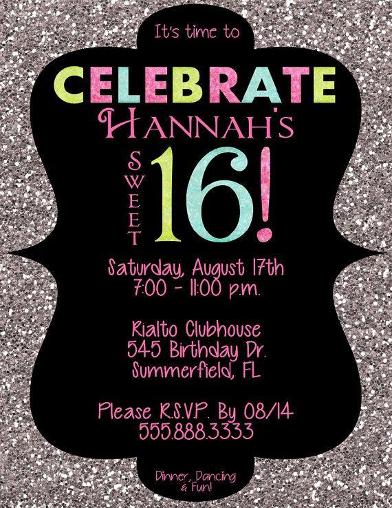 PRINTABLE Sweet 16 Sparkle Invitation PDF Or By AllisonHopeDesigns