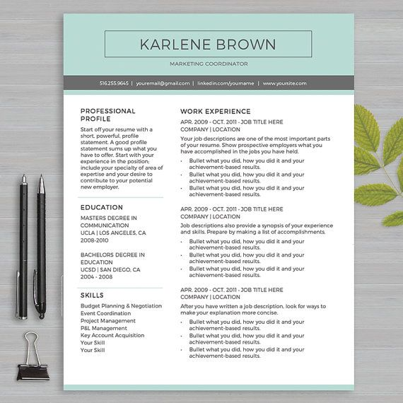 308 best Resumes Ideas \ Templates images on Pinterest Resume - resume template on microsoft word 2010