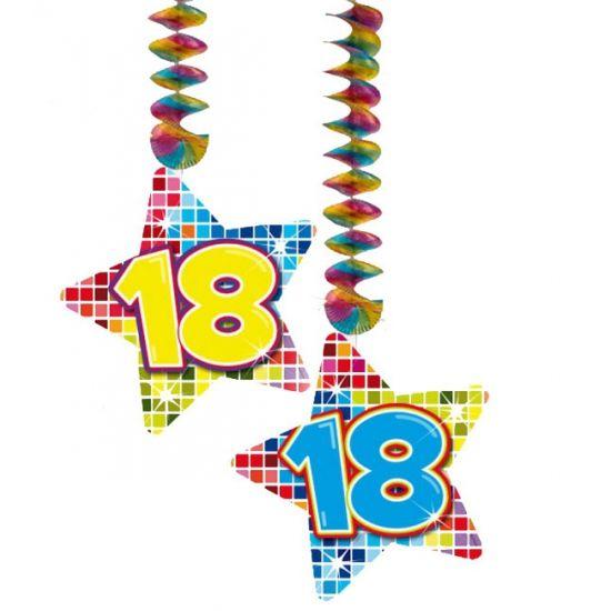 Hangdecoratie sterren 18 jaar. Hangdecoratie in de vorm van sterretjes met het getal 18. De decoratie is verpakt per 2 stuks en is ongeveer 13,3 x 16,5 cm groot.