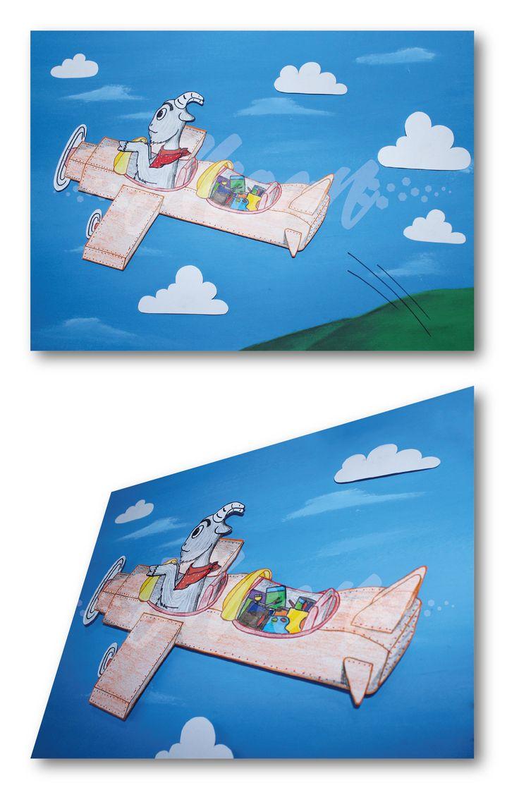 Ilustración con recortes en alto relieve para cuento infantil.  Materiales:  Cartón Piedra (base) Cartulina Durex Acrílicos Marcadores de Color Lápices de Color