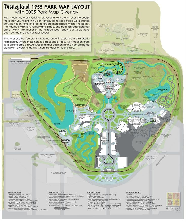 supercool map of Disneyland comparing 1955 to 2005