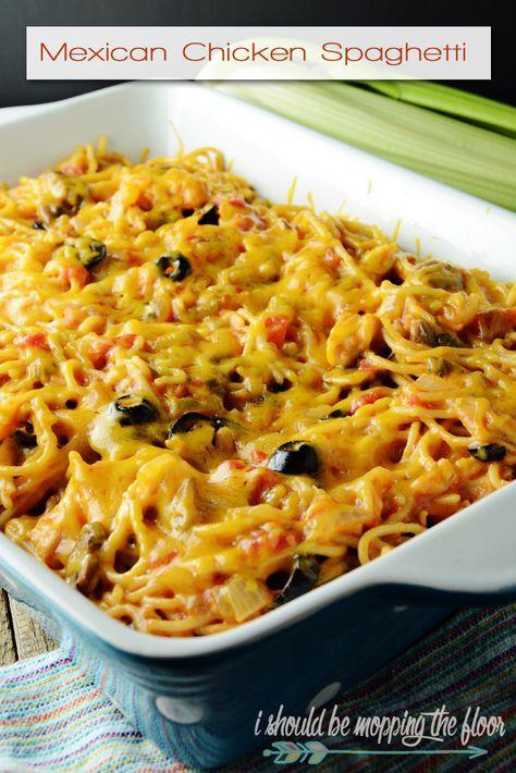 Mexican Chicken Spaghetti: a Tex-Mex twist on the classic southern casserole.
