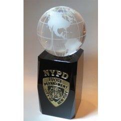 Black Base NYPD Globe - Crystaleire