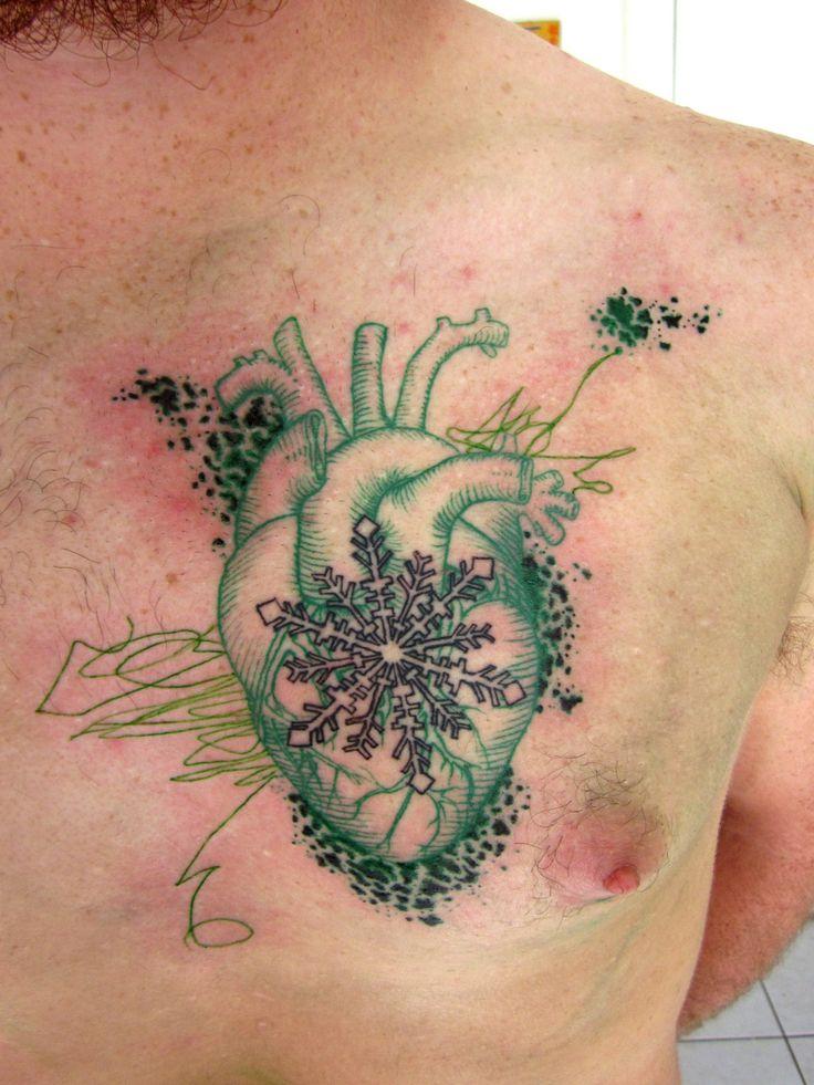 ;;; #tattoo #heart #snowflake: Tattoo Hearts, Style, Green Tattoos, Snowflakes, Body Art, Tattoo'S, Anatomical Heart, Fyeahtattoos Com, Heart Tattoos