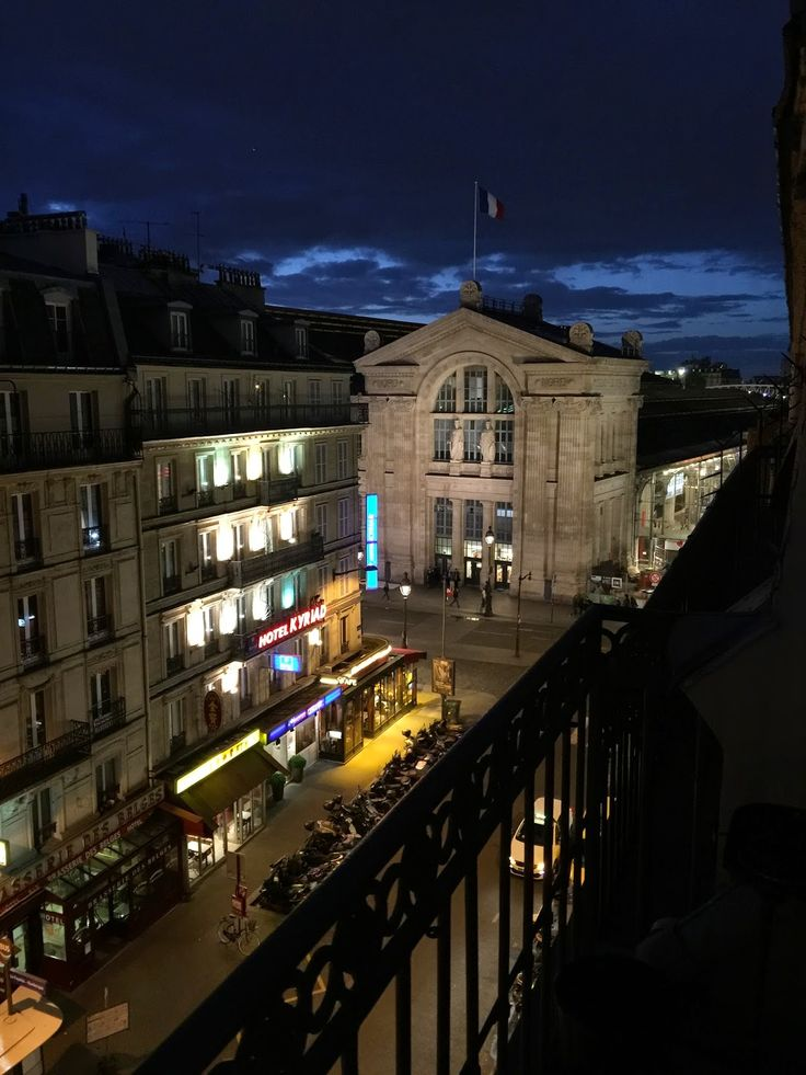 Twilight view of the Gard du Nord from a tiny 6th floor balcony.