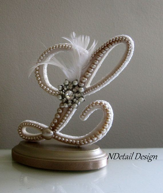 Wedding Cake Topper & Display : Monogrammed Pearl and Feather letter L Gatsby Theme on Etsy, $110.99