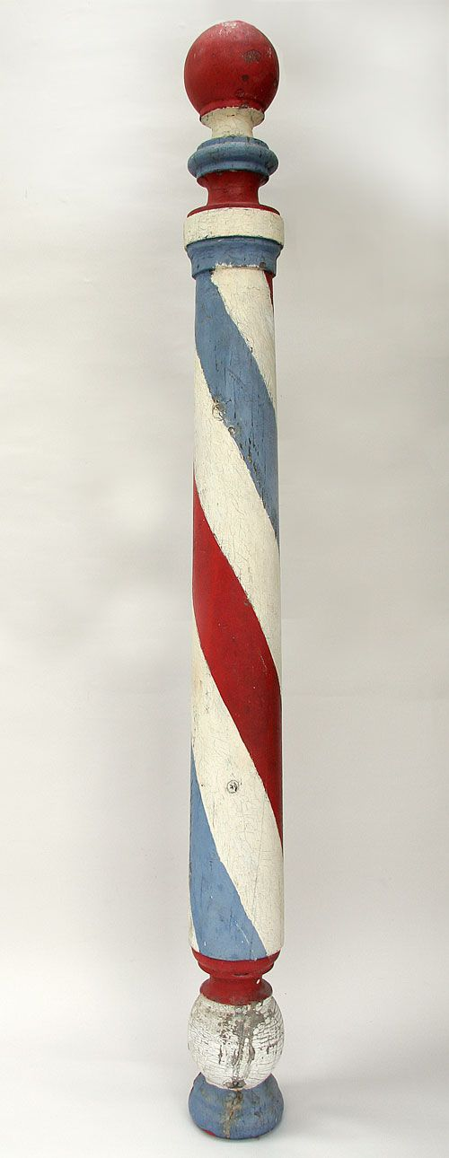Antique barber's pole - DIY??  <3 <3  Love this!  Wish I had it ... my grandfather was a barber and had his own shop.  He had a 'barber pole' but it was electric and attached to the building and nowhere near as tall as this one.  I prefer THIS one!