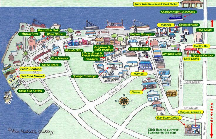 Map of Tarpon Springs Sponge Docks.