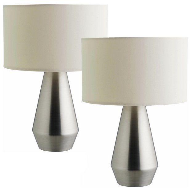 Buy Habitat Maya Pair Of Touch Table Lamps Silver Cream Table Lamps Argos Touch Table Lamps Table Lamp Cream Table Lamps