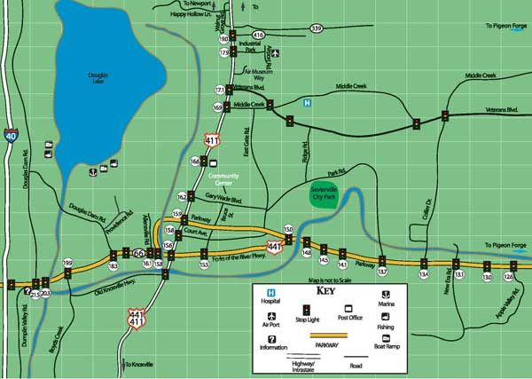 Sevierville Map  Close To Pigeon Forge  Pigeon Forge