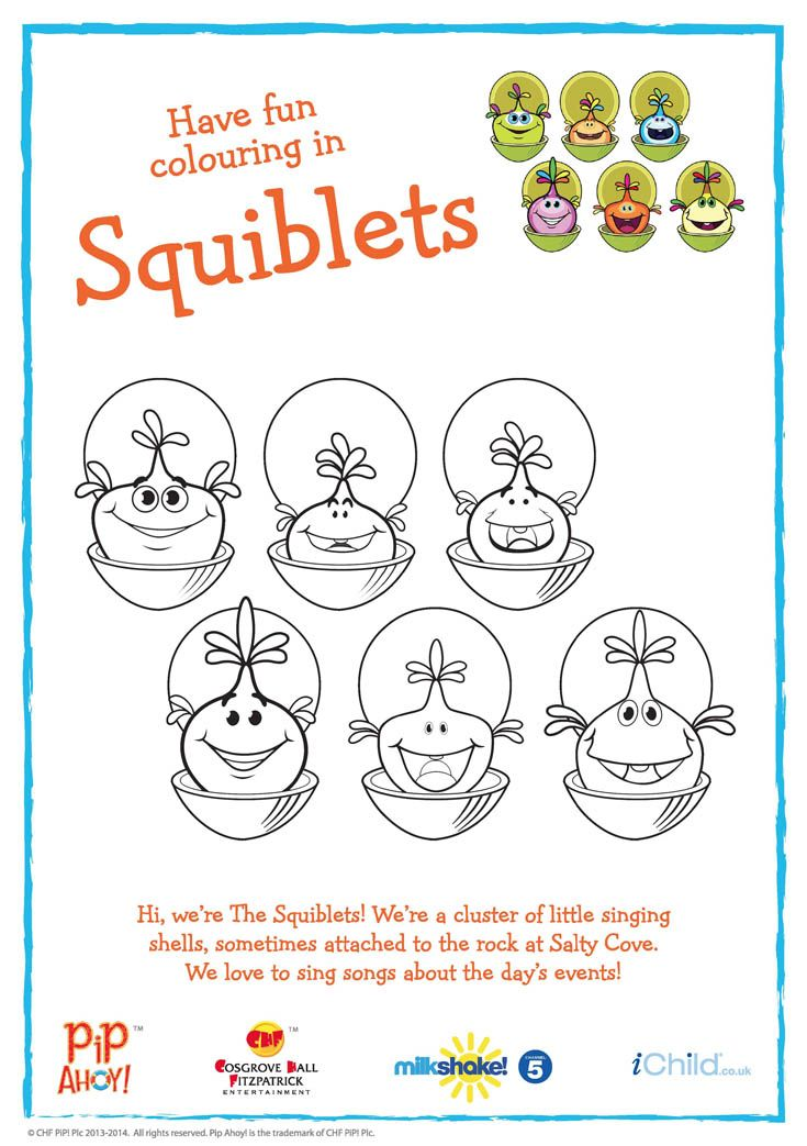 Squiblets colouring in activity available from #PipAhoyUK section on ichild.co.uk
