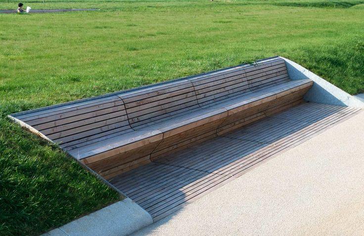 Bench in Park Killesberg, Stuttgart by Rainer Schmidt Landschaftsarchitekten. Click image for full profile and visit the Slow Ottawa boards >> https://www.pinterest.com/slowottawa/