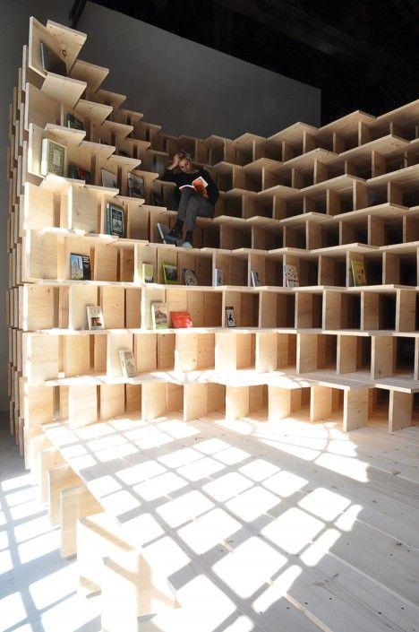 Dekleva Gregorič transforms Slovenian Pavilion into cocooning library dedicated to home design.