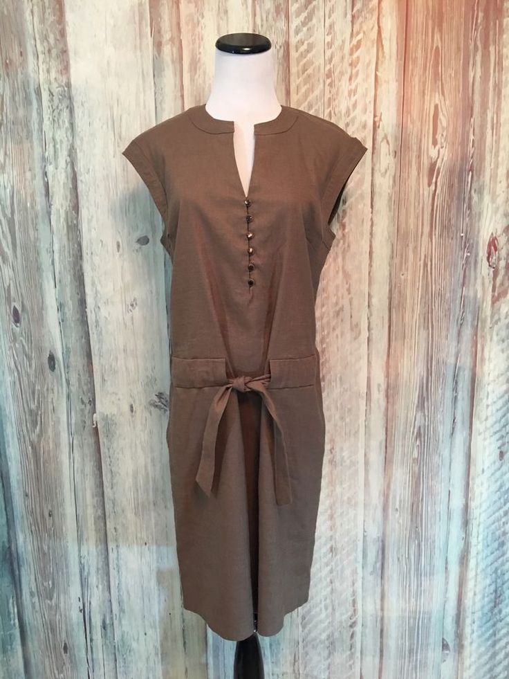 Faconnable Shirt Dress Linen Brown Stretch V Neck Tie Belt Pockets Safari S EUC  #Faonnable #ShirtDress #AnyOccasion