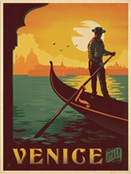 Italy: Venice - Our latest series of classic travel poster art is called the WorldTravel Poster Collection. We were inspired by vintage travel prints from the Golden Age of Poster Design (a glorious period spanning the late-1800s to the mid-1900s.) So we set out to create a collection of brand new international prints with a bold and adventurous feel.