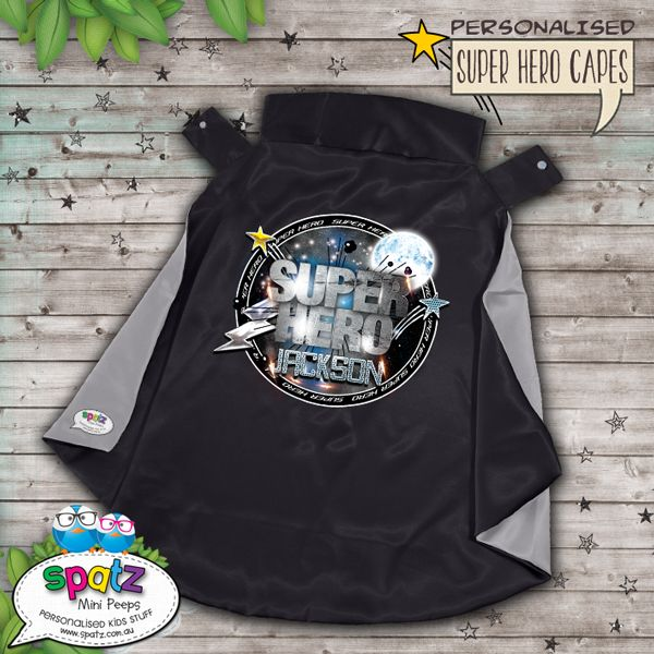 Strong As Steel - Personalised Super Hero Kids Cape - Black / Silver  Is it a bird? Is it a plane? Nope, its way better than that. Its an awesome personalised SPATZ Mini Peeps® Personalised Kids Super Hero Cape! Complete and unique with a SUPER AWESOME design with your child's name placed on the back.