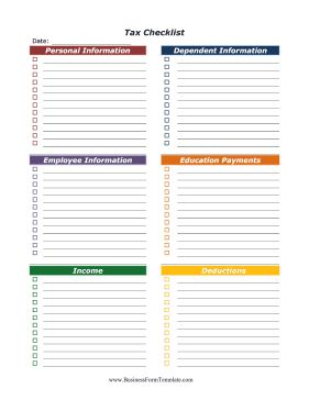 This Colorful Checklist Divides Tax Returns Into Personal