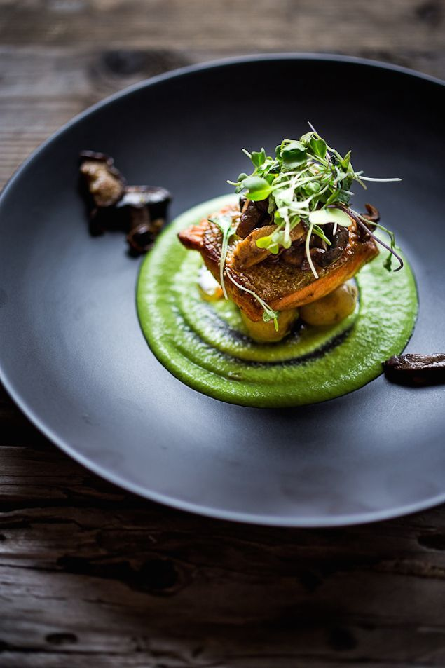 Seared Trout with New Potatoes, Mushrooms and Truffled Spring Pea Puree