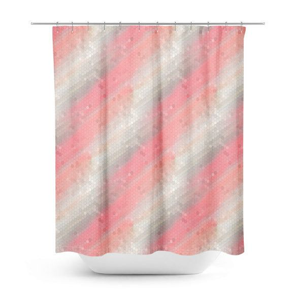 pink shower curtain bathroom decor pretty bath curtain