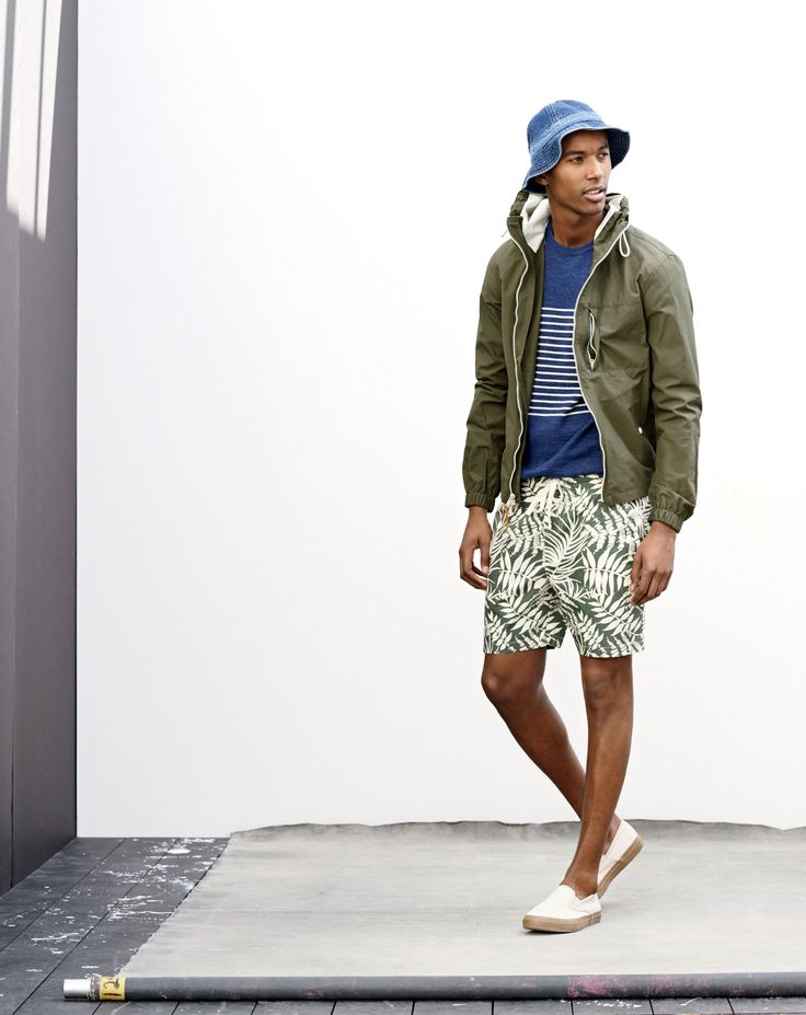 J.Crew men's cotton beach sweater in heather indigo, fern print dock shorts, denim bucket hat and Sperry for J.Crew CVO slip-on in seeded canvas sneakers. (May 2015)