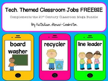 """*For 241 pages of tech. themed decor, see my 21st Century Classroom: Technology Themed Decor set21st Century Classroom: Tech. Themed Dcor Mega Bundle*Includes:-25 classroom jobs in a tech. theme*Please rate me :)*Remember to """"follow"""" me for updates on my new items!The graphics used in this item are copyrighted and may not be used for your own commercial projects or given away to anyone else."""