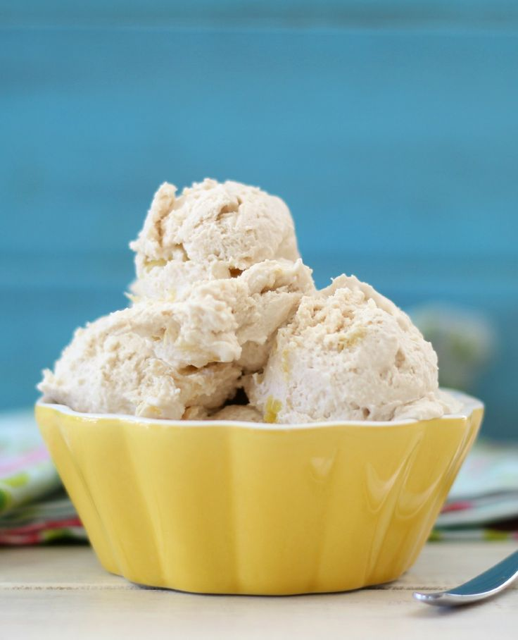 Pina Colada Ice Cream (Vegan, GF) - A healthy, easy ice cream, made with coconut milk, pineapple, and shredded coconut that tastes just like a sweet pina colada.