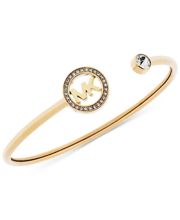 Michael Kors Crystal Logo Cuff Bangle Bracelet