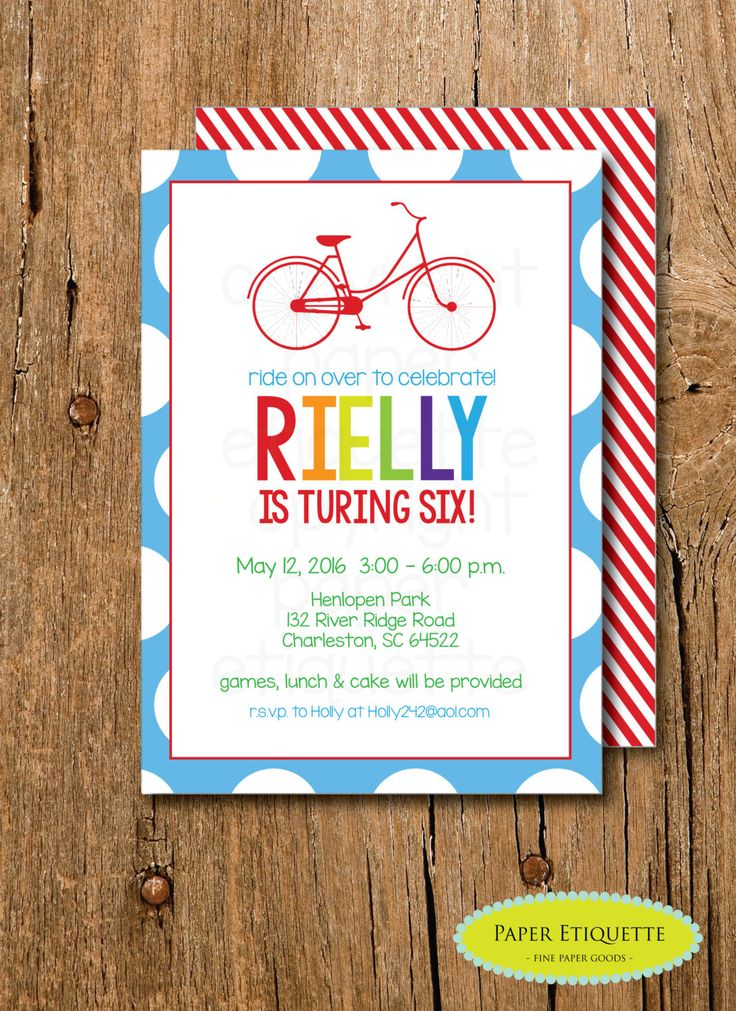 Bicycle Rainbow Birthday Invitation - Rainbow Paint Party - Rainbow Birthday or Bicycle Baby Shower -Paint Birthday Party, Artist Birthday by PaperEtiquette on Etsy