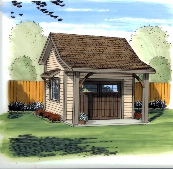 Shed Plan 41126, for ride on lawn mower, at FamilyHomePlans.com
