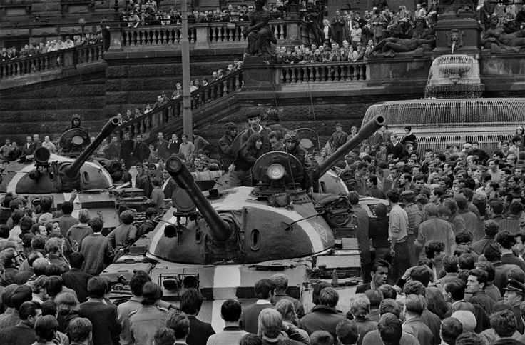 by Josef Koudelka - CZECHOSLOVAKIA. Prague. August 1968. Warsaw Pact tanks invade Prague. Wenceslas Square, in front of the National Museum.