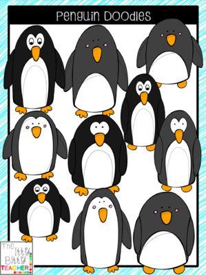 Clipart - Penguin Doodles from Jamie Harnar on TeachersNotebook.com -  (20 pages)  - Super cute set of penguin clipart doodles.