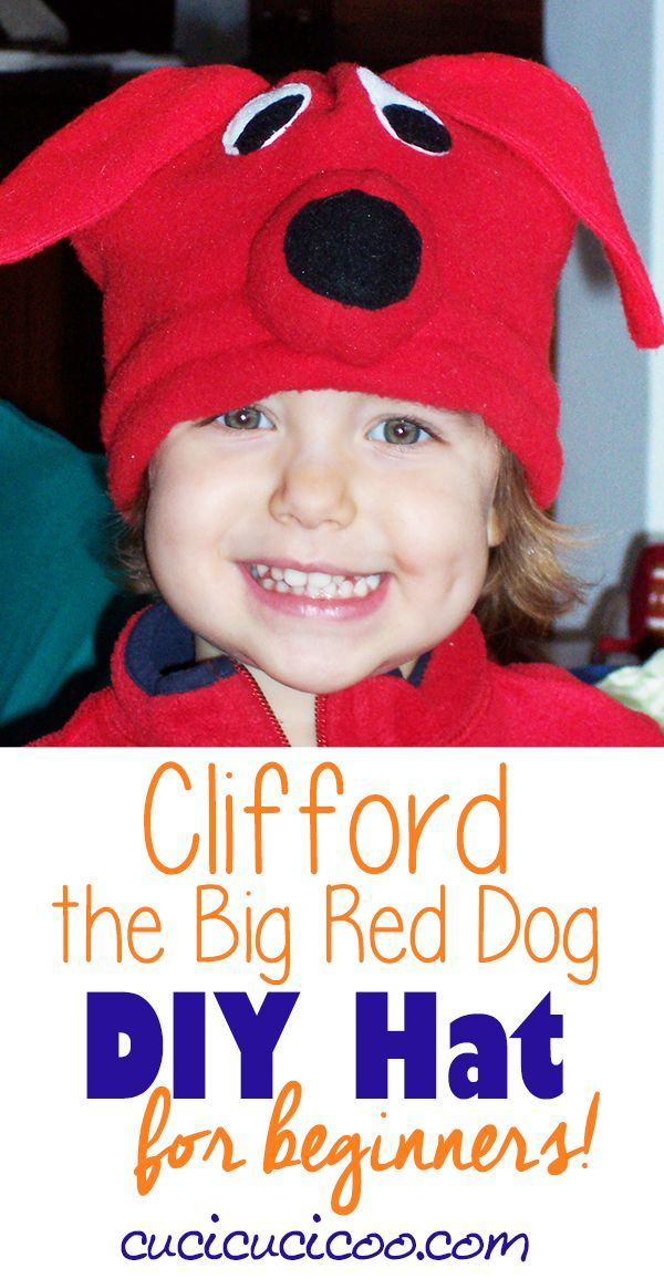 Grab some fleece and sew a Clifford hat complete with floppy ears, eyes and nose for your favorite child. She'll love pretending to be a Big Red Dog! #cliffordthebigreddog #diyfleecehat