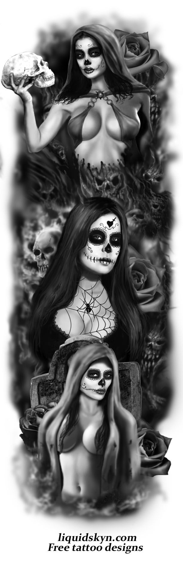 Day Of The Dead Tattoos   DAY OF THE DEAD TATTOO SLEEVE 2
