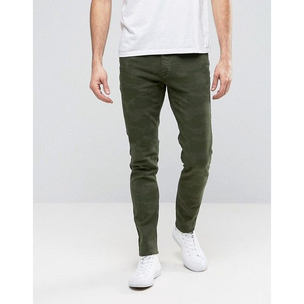 Hoxton Denim Jeans Khaki Camo Skinny Jean (2,565 DOP) ❤ liked on Polyvore featuring men's fashion, men's clothing, men's jeans, green, mens camouflage jeans, mens camo skinny jeans, mens khaki jeans, mens skinny jeans and tall mens jeans