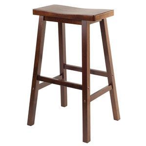 "Winsome Wood Satori 29"""" Saddle Seat Bar Stool Antique Walnut"