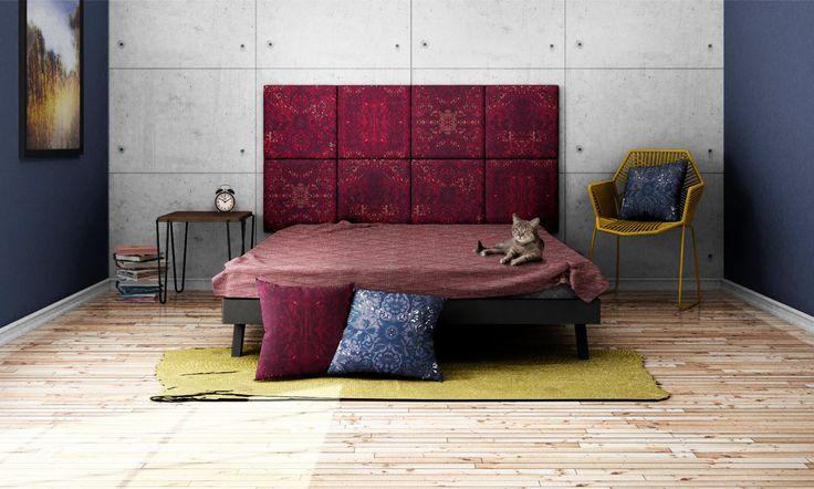 Headboard - upholstered modular wall panels PATTERN No. 1006 Magenta Ornament by DesignPolski on Etsy