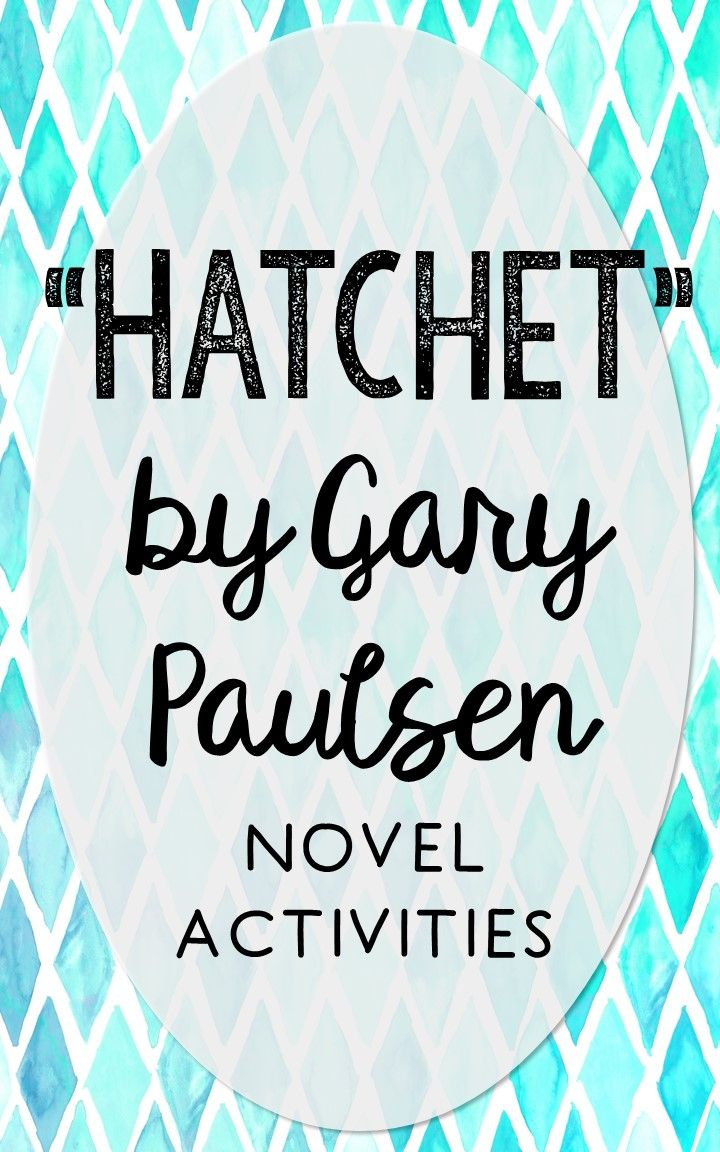 Hatchet by Gary Paulsen. This NO-PREP resource is perfect if you're looking for novel activities that are engaging and demonstrate comprehension WITHOUT multiple choice tests! This unit includes vocabulary terms, poetry, author biography research, themes, character traits, one-sentence chapter summaries, and note taking activities. You'll also find an author quote poster, a tri-fold bookmark, and character/vocabulary wall cards (plus EDITABLE cards!).