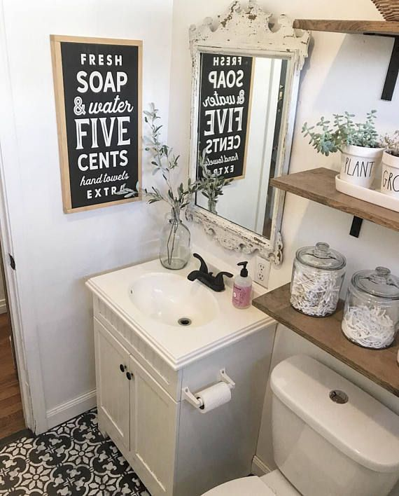 Vintage Bathroom Painted wood sign SML Sizes Available