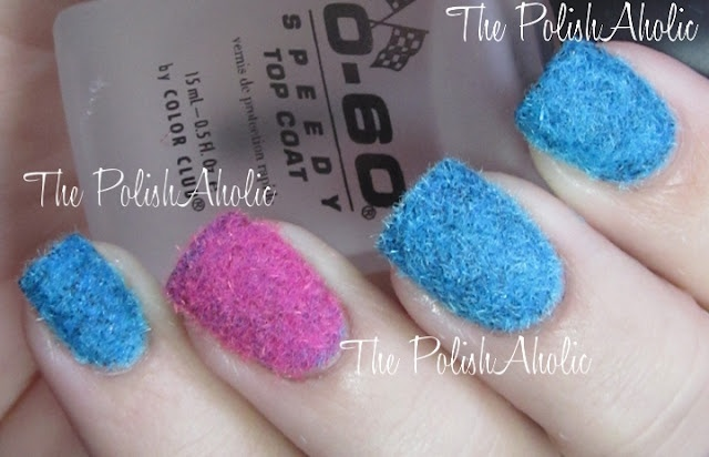 The PolishAholic: Fuzzy Nail Sweaters - Flocking powder applied over polish to create fuzzy nails.