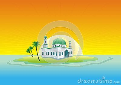 Mosque on the island middle of the sea - cartoon design,  beautiful view, pretty and funny