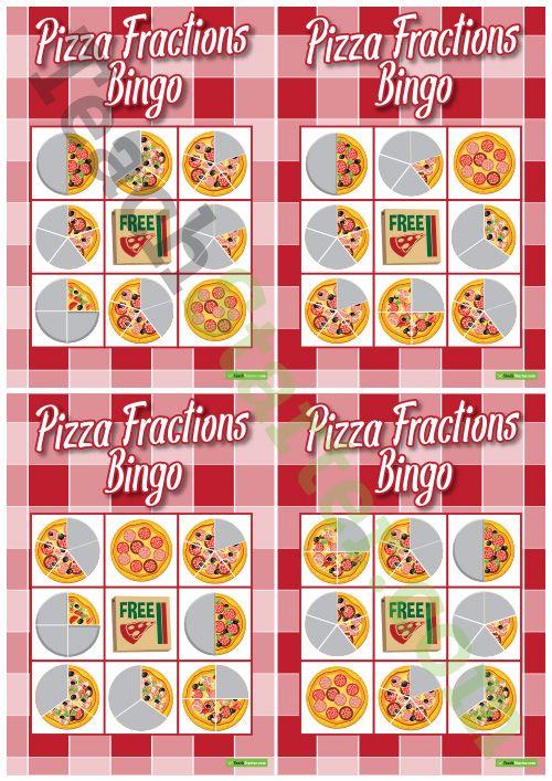 Pizza Fraction Bingo – 1/2, 1/3, 1/4, 1/5 Teaching Resource