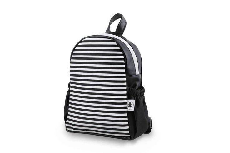 Toos and Dabush Zwarte rugzak met strepen Monochrome backpack