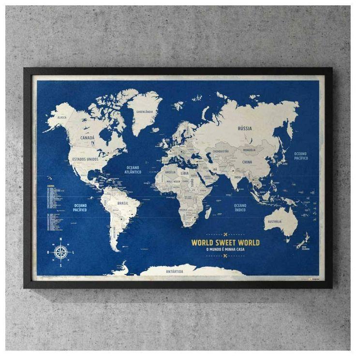 Pôster Premium - Mapa-Múndi Azul A1 com Moldura + 100 Pins Alfinetes para Marcar os Lugares Visitados