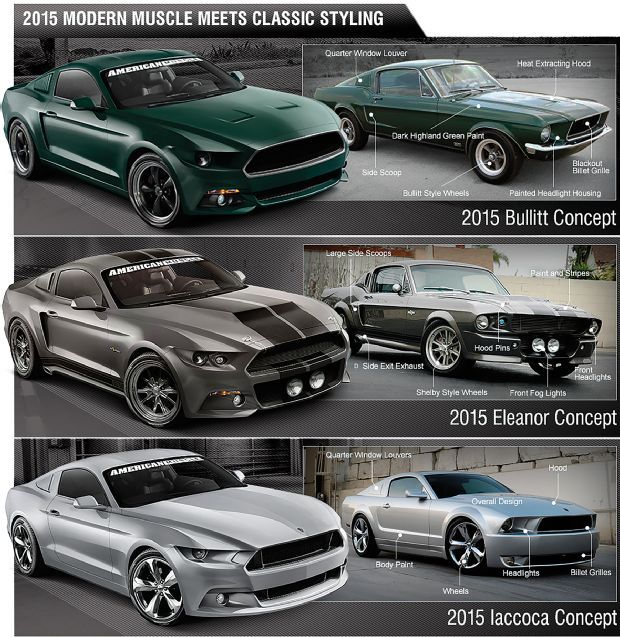 AmericanMuscle Excites With The 2015 Mustang Re-creations: Iacocca, Bullitt, And Eleanor