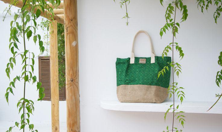 Green Batik and Natural Jute Big Tote Bag