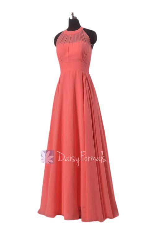 Floor Length Chiffon Bridesmaid Dress Coral Formal Dress W/Illusion Neckline(CST2225L)