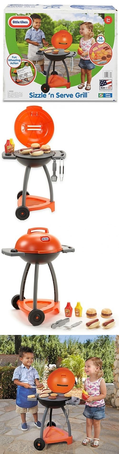 Child Size 2574: Little Tikes Sizzle N Serve Grill Indoor Outdoor Barbecue Play Food Set -> BUY IT NOW ONLY: $39.91 on eBay!
