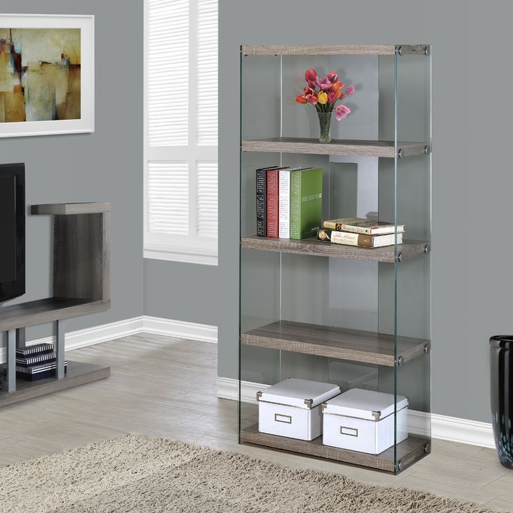 Vegas Taupe Modern Gl Open Bookcase Office Furniture Vancouver